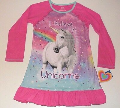NWT Justice Size 6//7 or 8 Unicorn Latte Googly Eyes Nightgown Pajamas Pjs