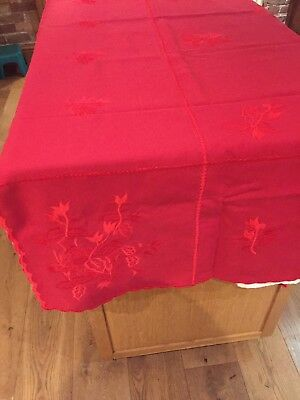 Large Embroidered Red Cloth and six napkins