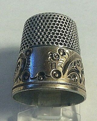 Antique Simons Bro. Sterling Silver  Gold Scrolls Band Thimble Sewing 11