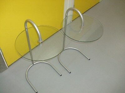 20Th Century Pair Of Two Glass Bed Side Table