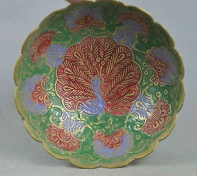 Collectable Handmade Old Copper Carve Peacock & Flower Lucky Auspicious Bowl
