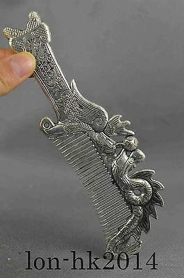 Collectible Handwork Miao Silver Carve Dragon & Phoenix Play Bead Exorcism Comb