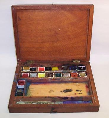 Vintage/Antique REEVES No.28 ARTISTS PAINT BOX Wood/Wooden MAHOGANY Watercolours