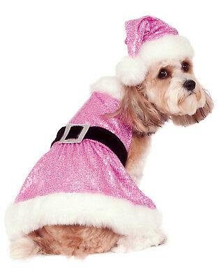 Sequin Mrs Santa Claus Pet Dog Cat Pink Christmas Costume Outfit