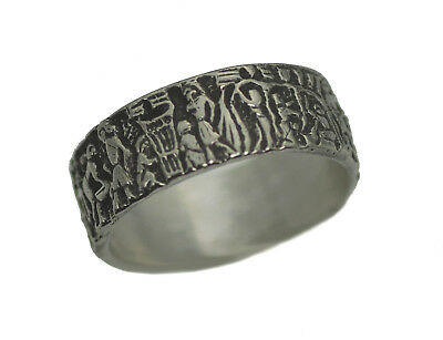 Mural Ancient Life of Egyptian Ring Sterling Silver Egypt Pharaoh King Jewelry