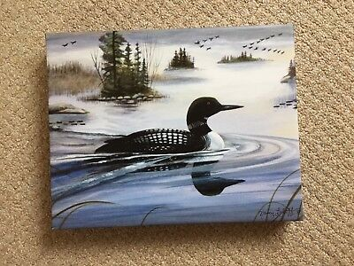 "11"" x 14"" Northern Lake  'LOON'  Reproduction on Canvas by Nancy Luloff / Framed"