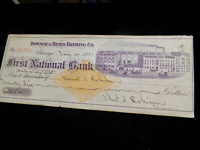 Early 1883 Brewery Check, Factory Scene Downer & Bemis Brg Co Chicago Illinois