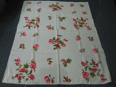 """VINTAGE IVORY LINEN TABLECLOTH with PINK GRAPES CHERRIES PLUMS FRUIT 50"""" X 64"""""""