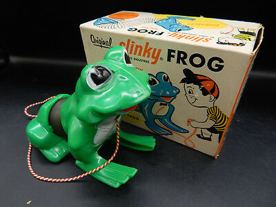1960s vintage James Industries SLINKY FROG pull toy w/ original box package MIB!