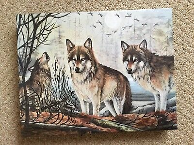 "11"" x 14""  'WOLVES' Reproduction on Stretched Canvas, by Nancy Luloff / Framed"