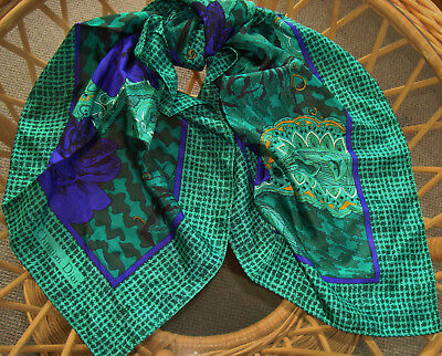 Vtg Christian Dior Scarf Square 31X31''green Purple Floral Paisley 100%silk