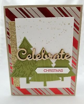 Lot of 5 Celebrate Christmas cards made w/Stampin Up! supplies Christmas Trees