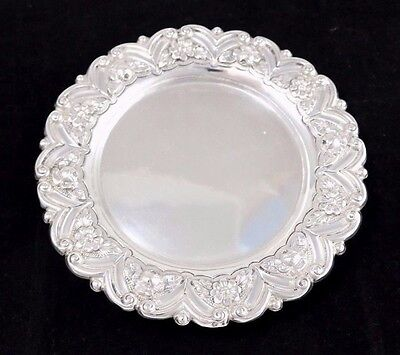 "Floral Sterling Silver Footed Round Tray 7.25"" Wide"