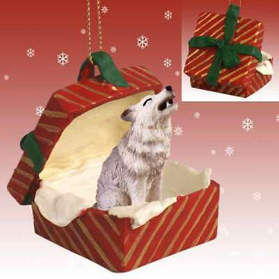 Wolf Grey RED Gift Box Holiday Christmas ORNAMENT