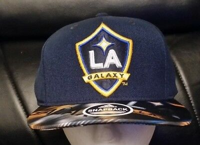 63b5e4a8b671c Los Angeles LA Galaxy Adidas Navy Structured Snapback Flat Bill Hat Cap   VS77Z