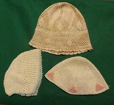3  Hand Knitted Child  Hats Vintage 1920s or 1930s
