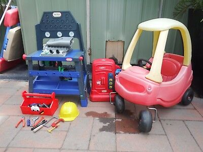 Little Tikes Cosy Coupe Car & Little Tikes Tool Bench  Bench Good Condition