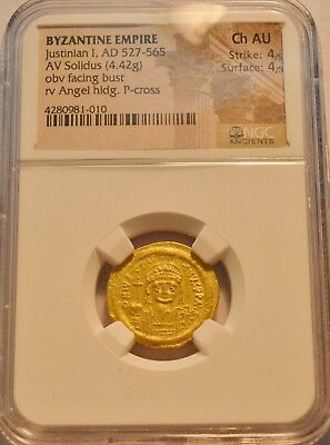 Byzantine Empire Justinian I AD 527-565 AV Solidus NGC Choice AU Gold Ancient