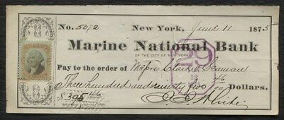 BANK CHECK Marine National Bank, New York, N.Y. 1875