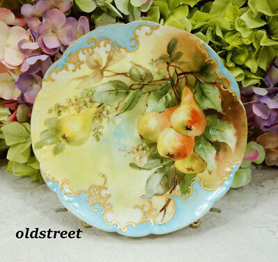 Beautiful Haviland Limoges Porcelain Plate ~ Hand Painted Pears ~ Gold