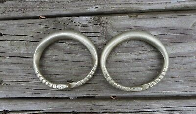 Pair Of Antique Indonesian Tribal Silver Ankle Bracelets Set 2