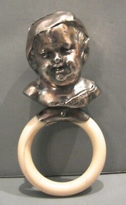 Victorian Antique Sterling Silver Cherub Baby Rattle & Teether