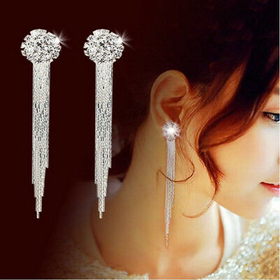 Fashion Women Crystal Tassle Silver Ear Stud Dangle Drop Earrings Bridal Jewelry
