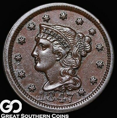 1847 Large Cent, Braided Hair, Choice AU++/Unc Copper