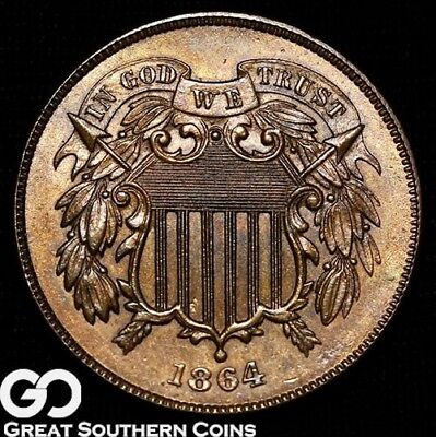 1864 Two Cent Piece, Nice Sharp Gem, ** Free Shipping!