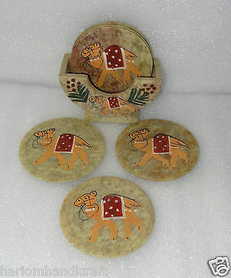 Marble Round Camel Hand Painted Work Tea Coffee Coaster Set Kitchen Gifts H248