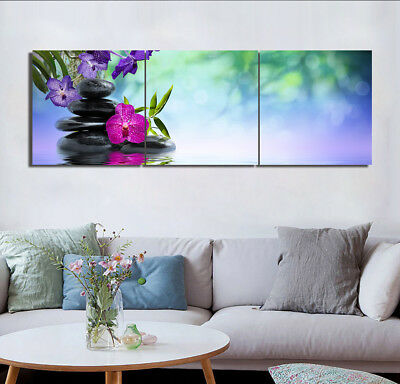 """Orchid Stone Spa Wall Art Image Decor Canvas Print Painting 16x16""""x3pc W/N Frame"""