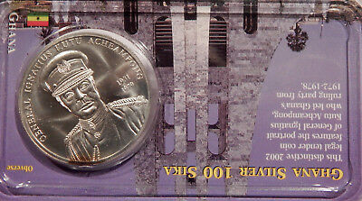 Uncirculated 2002 Ghana 100 Sika Silver Foreign Coin