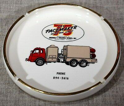 """MURRELL'S WELDING WORKS TEXAS """"PACEMAKER 75 HOT OIL UNIT"""" Ashtray 1960s"""