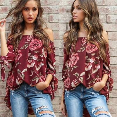 Women Off The Shoulder Floral Print Long Sleeve Shirt Loose Pullover Blouse Tops