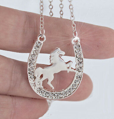 Horse & Western Jewellery Jewelry Sparkling Horse & Horseshoe Necklace Silver