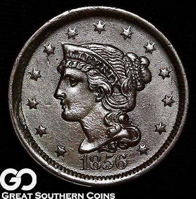 1856 Large Cent, Braided Hair, Tough This Nice, Great Coin!