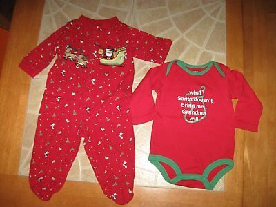 Lot Baby Unisex Christmas Long Sleeve Footed One Piece Bodysuit Red 9 Months