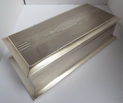 SUPERB LARGE HEAVY 887g ENGLISH ANTIQUE ART DECO 1933 SOLID SILVER CIGARETTE BOX