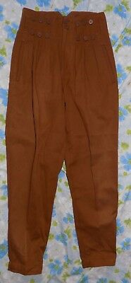 VTG 1980's Gitano Brown High Waisted Pleated Tapered Women's Pants 3/4 Boho Punk
