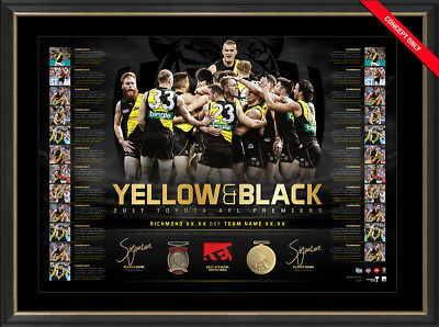 Richmond 2017 Afl Premiers Hand Signed Framed Martin Cotchin Yellow Black Print