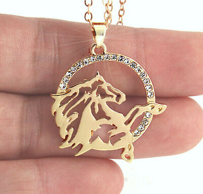 HORSE & WESTERN JEWELLERY JEWELRY LADIES SPARKLING HORSE HEAD NECKLACE GOLD b