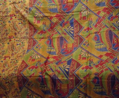 Vintage Pure Silk Sari Unique Hidden Horse Fish Birds Figure Metamorphic  Saree