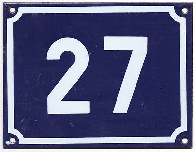 Large old blue French house number 27 door gate plate plaque enamel steel sign