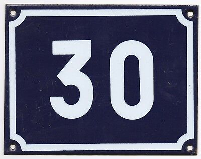 Large old blue French house number 30 door gate plate plaque enamel steel sign