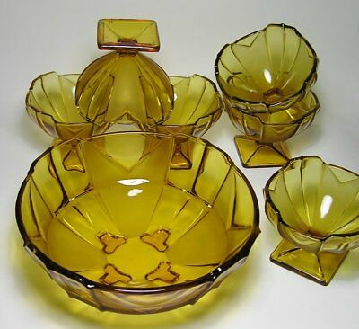 "Art Deco SOWERBY ""Chevron"" Part Frosted Amber GLASS BOWL & DISH SET #2631"
