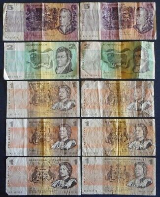 Australian Paper Banknotes - Lot of 10  Face Value $20  Circulated Condition