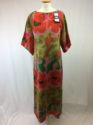Vintage 1970s Homemade Handmade Ladies Full Length Dress Size L Poppies Floral