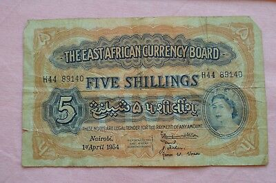 The East African Currency Board Five Shillings Banknote 1st April 1954 ROUGH