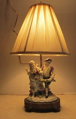 Antique Vintage Porcelain Figure German Man Woman Lamp w Brass Base Works B83