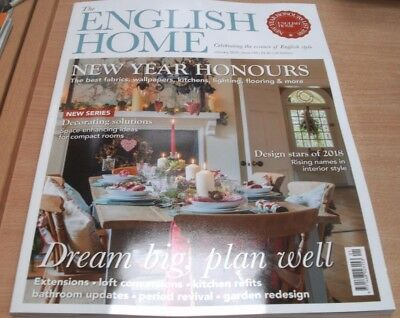 The English Home magazine Jan 2018 New Years Honours Fabrics Papers Kitchens....